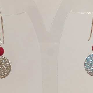 E0323 - own design and manufacture - fashion generous gift of choice - natural stones - red coral / silver 925 earrings