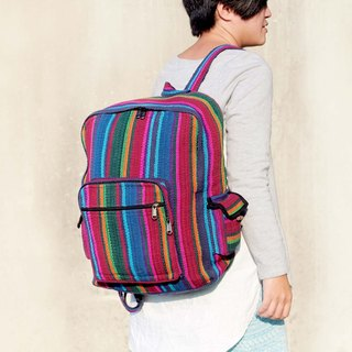 Hand after hand-woven Ethnic Travel square backpack - South America shades (one only)