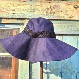 Handmade dark denim material hat