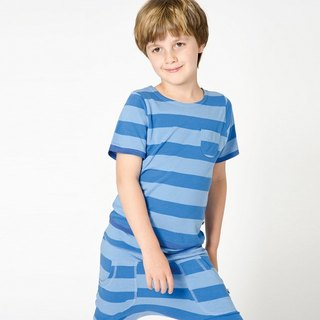Nordic organic cotton children's clothing rat trousers _ striped sky blue