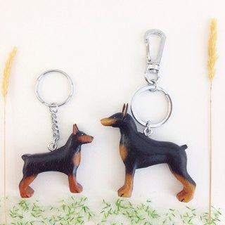 [Handmade wooden x dog series] * black Doberman dog keychain / strap