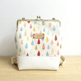 Fun little raindrops big mouth gold Backpack / Get a free print name leather standard