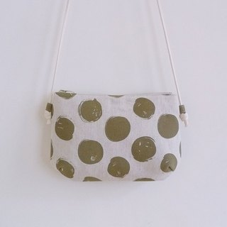Handmade sewing coffee green dot with small oblique shoulder cloth bag