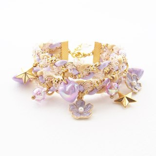 Flower girl bracelet - braided bracelet - lilac jewelry - kawaii bracelet - kawaii accessories - lolita accessories - fairy kei.