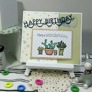 Handmade cards - Happy Cactus Birthday Card (birthday / blessing)