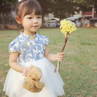 Angel Nina custom Chinese wind cheongsam dress blue and white porcelain flower birthday party party party