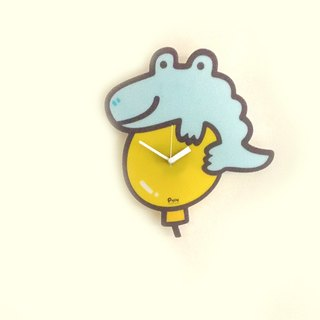 Mute wall clock _ Peng Peng crocodile balloon