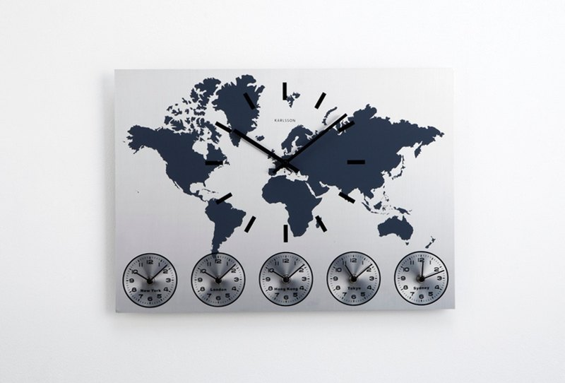 Karlsson Wall Clock World Time Stainless Steel World Map Wall Clock