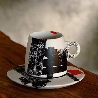 Li Jianzhong / Endeavor - painted stone coffee cup (black and red)