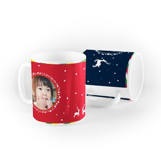 Christmas Mug - snowy night reindeer (blue) AI1-XMAS7
