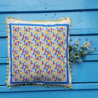 Nordic style pale yellow hair ball, yellow and blue floral pattern pillow / pillow