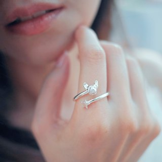 Oops french bulldog meteor ring