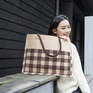 Checker Tote KK Jute Bag in Brown