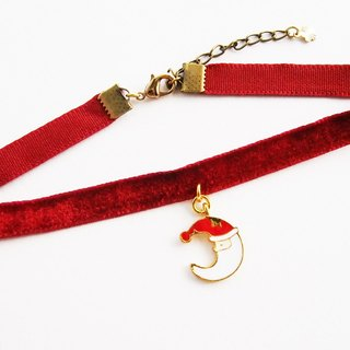 Red velvet choker / necklace with Santa moon charm.