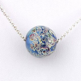 Cell Ball Handmade Lampwork Glass Sterling Silver Necklace