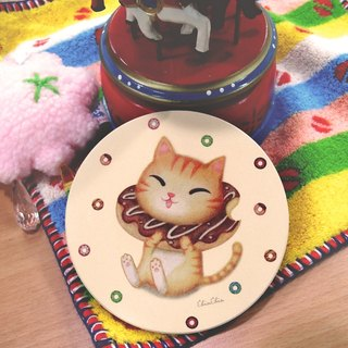 ChinChin hand-painted ceramic cat water coaster - chocolate donut