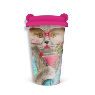 Mustard Double Thermal Ceramic Cup - Party Cat