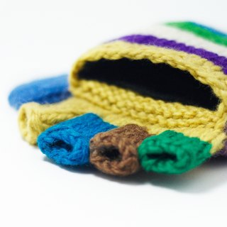 Valentine's Day gift / limited a hand-woven pure wool knit gloves / detachable gloves (made in nepal) - rainbow stripes color