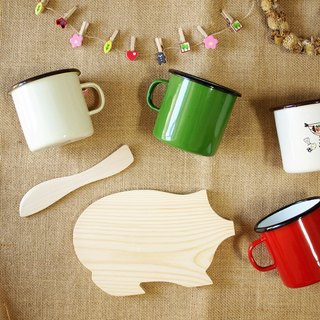 Pig breadboard Optional four-color enamel mug comes with a butter knife