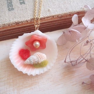 Garohands French Riviera feel the shells of small shells of long chain * strawberry milk A402 gift of nature