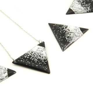 Vinyl Record Silver Foil Triangle Charm Stardust Necklace // Silver Desert