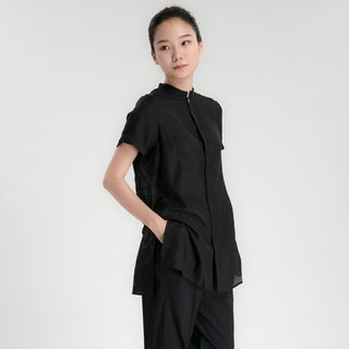 BUFU Yohji Yamamoto black short-sleeved silk shirt embroidered with black thread
