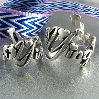 Customized .925 sterling silver jewelry NCRF0002- double name ring