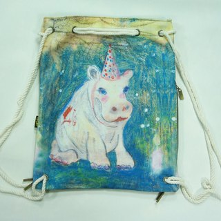 After hippo / beam port backpack / a portable dorsal / thick canvas washed green / illustrator: Sera Lee Limited 20 Sold