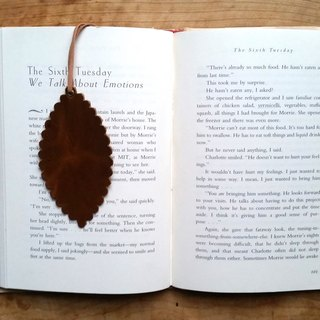 Leather leather cowhide - traveler bookmarks / Charm / card (brown) - free custom English name / good sentence typing service