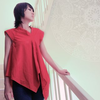 | The last thing | Hin ⊕ Refreshing burning flowers hem irregular T (warm orange)