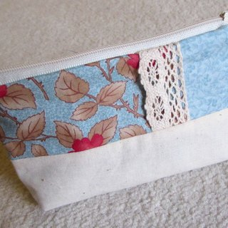 LARIO European retro flower series: Smoke and Blue Thorn Flower - Small cosmetic bag / debris bag / zipper bags