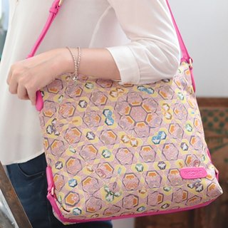 Videos jacquard woven casual shoulder bag leather butterfly kaleidoscope