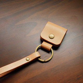 Hand-sewn tanned leather cowhide emergency key ring - primary colors