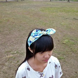 Blue flowers rabbit ears headband