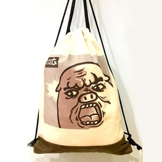 Startle QQ pig canvas back / shopping bag / bag / carry bag / green paper / canvas type / gift / shoulder /