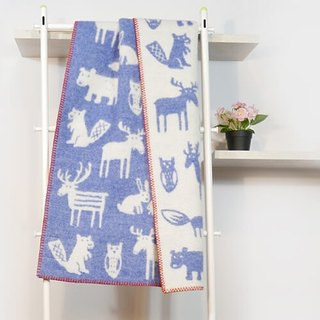 Baby blanket / moon ceremony Swedish Klippan organic wool blanket - the endless (blue)