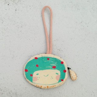 LovE to Dreams little girl travel card holder / purse - Lake green / pink dot
