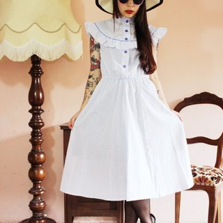 F1172 (Vintage) white with blue stripes flounced collar cotton vintage sleeveless dress (wedding / picnic / party)