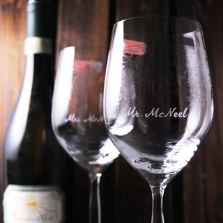 (a pair of prices) 425cc [customized wedding dedicated to the cup] retro art white gold crystal red wine glass