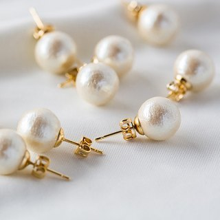 Champagne cotton champagne pearl earrings