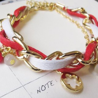 [HBR0007] ※ ※ Pretty in Pink Bunny dancing double gold bracelet