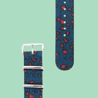 HYPERGRAND Military Strap - 20mm - MILIBAND Blue Red Leopard (Silver Buckle)