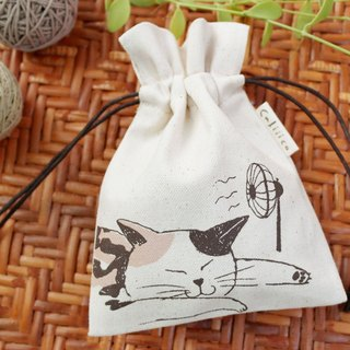 SMALL BAG HAND PRINT WITH CALICO CAT SLEEP.