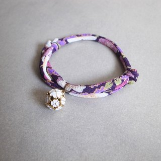 Japanese kimono dog collar & cat collar【Adjustable】darkviolet_S size