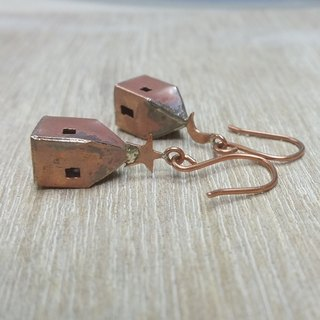 Moon and stars copper earrings