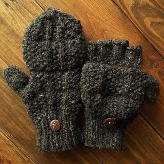 Handmade Wool Mittens, Convertible Mittens, Fingerless Mittens, Wool Gloves