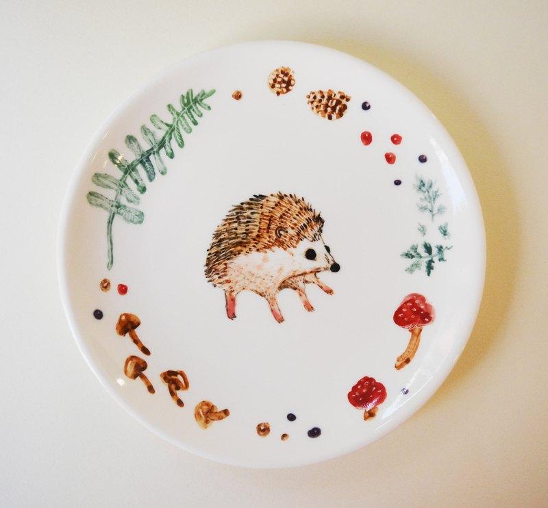 手繪6吋蛋糕盤 餐盤-小刺蝟
