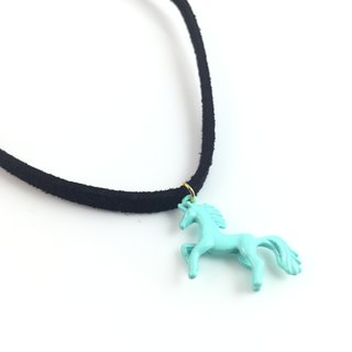 """Bluish green pony Necklace"""