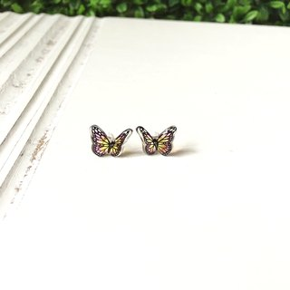 * Haku‧Neko * Hand-painted pink x yellow black butterfly flying earrings