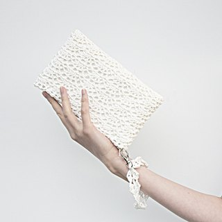Ivory Bridal Clutch Bag – Bridal White Lace Purse – Crochet Lace Wedding Purse – Wedding Bag – Pearl White Small Wristlet Bag – Crochet Bag